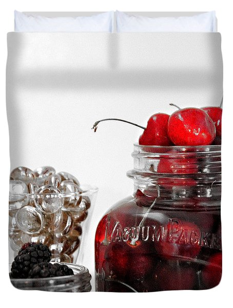 Beauty Of Red Cherries Duvet Cover by Sherry Hallemeier
