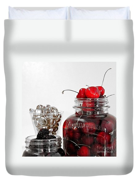 Beauty Of Red Cherries Duvet Cover