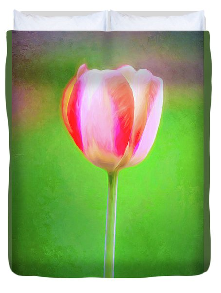 Beauty Of Spring Painted Tulip Duvet Cover