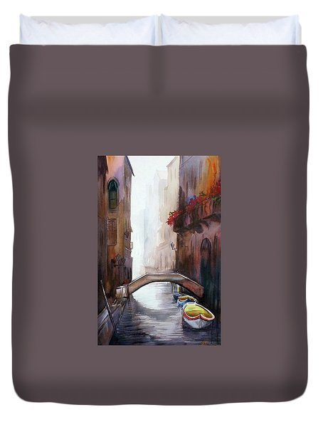 Beauty Of Venice Canals Duvet Cover