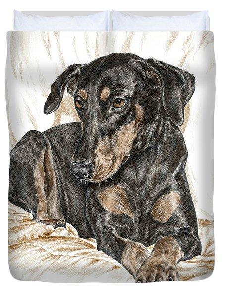Beauty Pose - Doberman Pinscher Dog With Natural Ears Duvet Cover