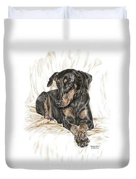 Beauty Pose - Doberman Pinscher Dog With Natural Ears Duvet Cover by Kelli Swan