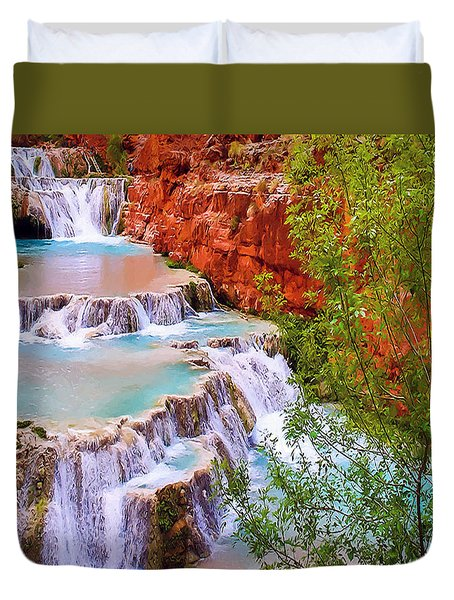 Beaver Falls Grand Canyon Painting Duvet Cover by Dr Bob Johnston