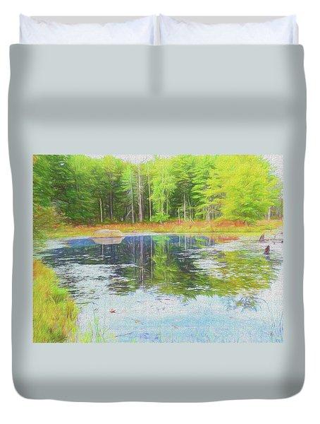 Beaver Pond Reflections Duvet Cover