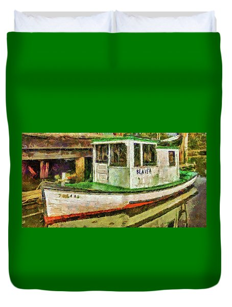 Duvet Cover featuring the photograph Beaver The Old Fishing Boat by Thom Zehrfeld