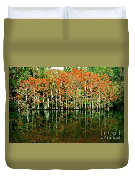 Beaver's Bend Cypress All In A Row Duvet Cover