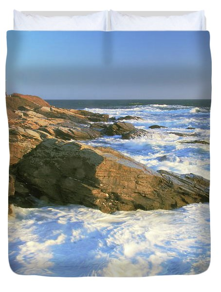 Duvet Cover featuring the photograph Beavertail Point And Lighthouse  by Roupen  Baker