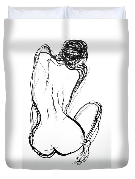 Duvet Cover featuring the drawing Because The Night by Jarko Aka Lui Grande