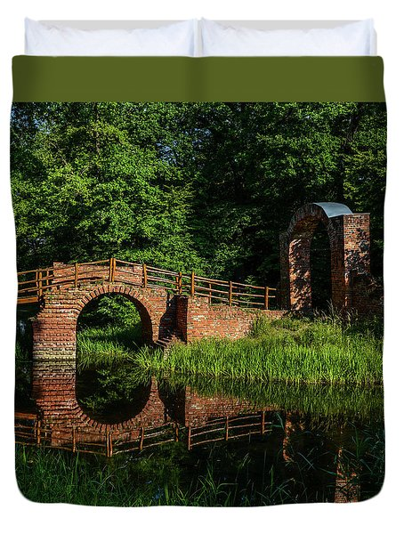 Beckerbruch Bridge Reflection Duvet Cover by Martina Thompson