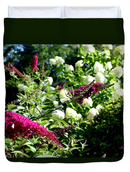 Duvet Cover featuring the photograph Beckoning Butterfly Bush by Hanne Lore Koehler