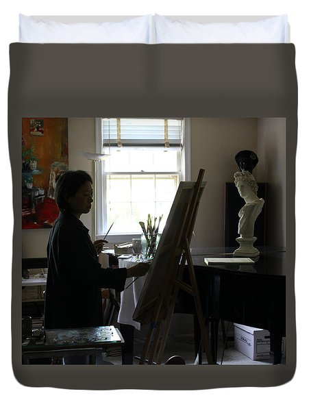 Becky Painting Chopin Duvet Cover by Becky Kim