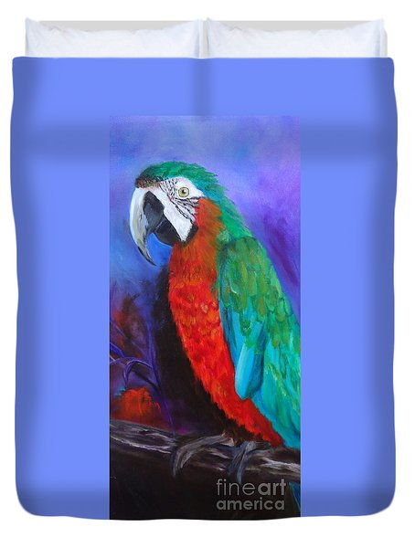 Becky The Macaw Duvet Cover by Jenny Lee