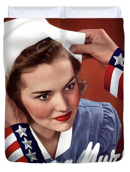 Become A Nurse -- Ww2 Poster Duvet Cover