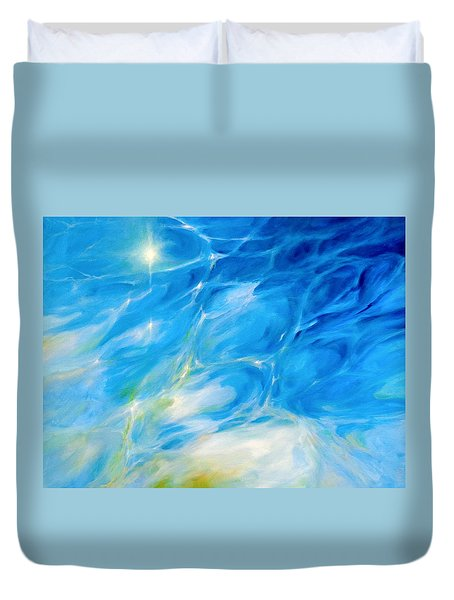 Duvet Cover featuring the painting Becoming Crystal Clear by Dina Dargo