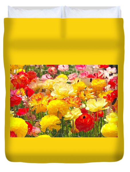 Bed Of Flowers Duvet Cover