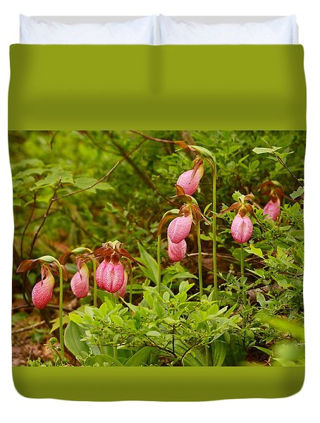 Bed Of Lady's Slippers Duvet Cover