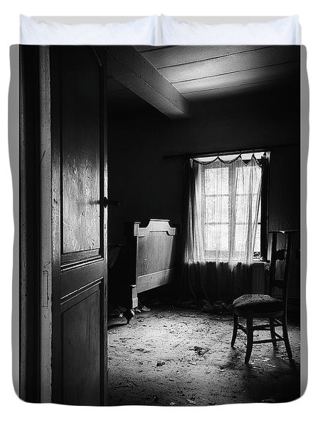 Duvet Cover featuring the photograph Bed Room Chair - Abandoned Building by Dirk Ercken