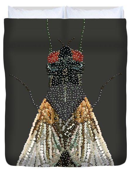 Bedazzled Housefly Transparent Background Duvet Cover
