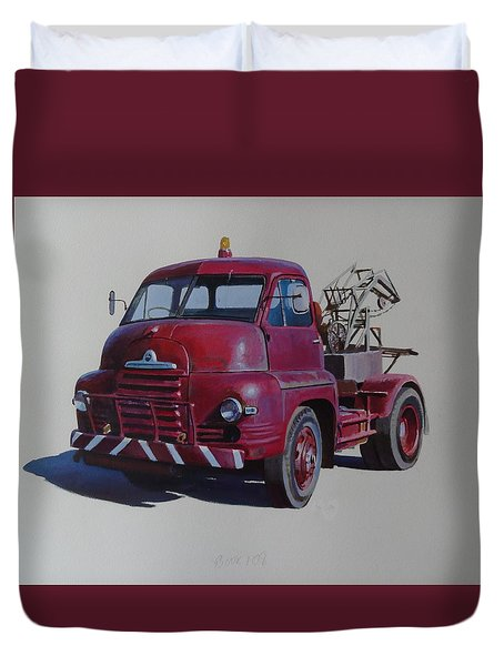 Duvet Cover featuring the painting Bedford S Type Wrecker. by Mike  Jeffries