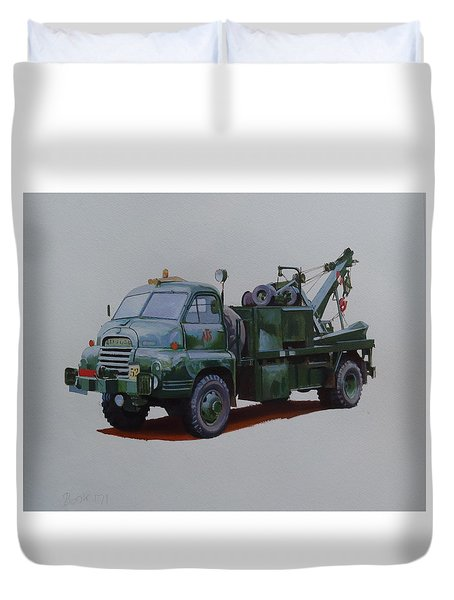 Duvet Cover featuring the painting Bedford Wrecker Afs by Mike Jeffries