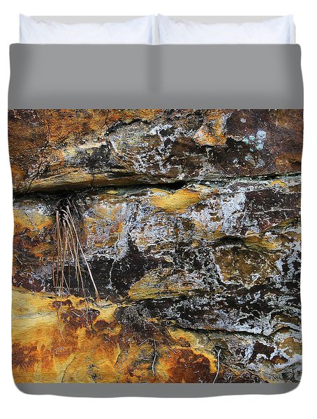 Duvet Cover featuring the digital art Bedrock by Julian Perry