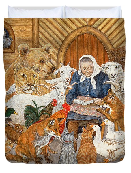 Bedtime Story On The Ark Duvet Cover by Ditz