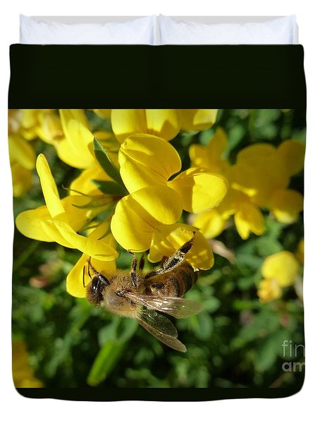 Bee And Broom In Bloom Duvet Cover