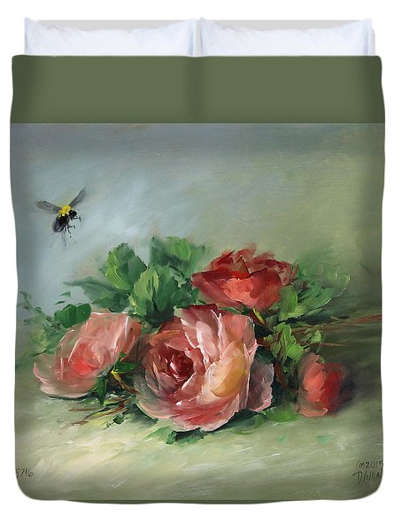 Bee And Roses On A Table Duvet Cover by David Jansen