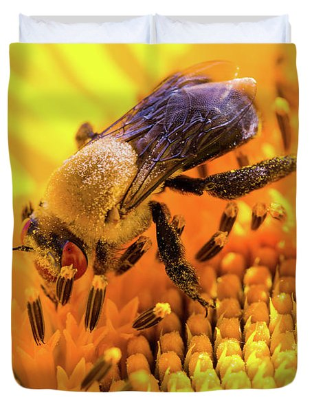 Bee And Sunflower Duvet Cover