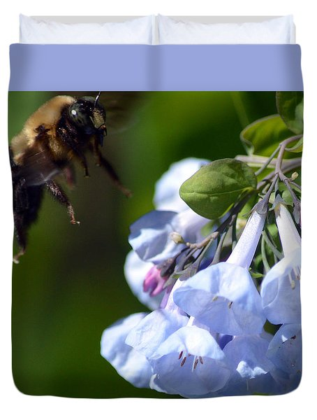 Duvet Cover featuring the photograph Bee Delight by Kathy Kelly