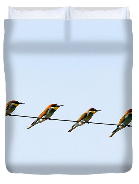 Bee Eaters On A Witre  Duvet Cover