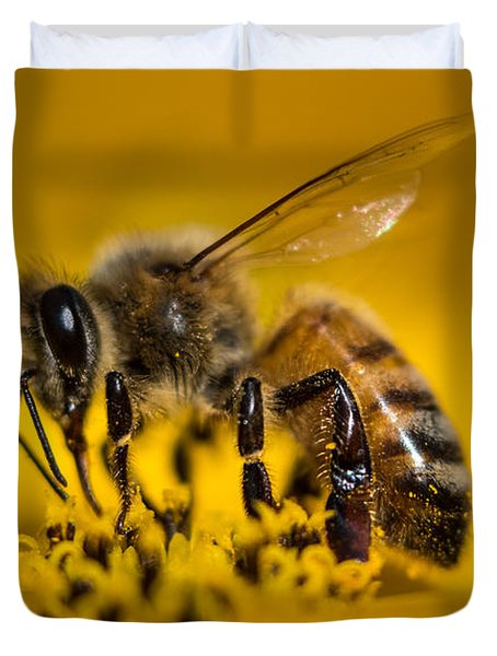 Bee Enjoys Collecting Pollen From Yellow Coreopsis Duvet Cover