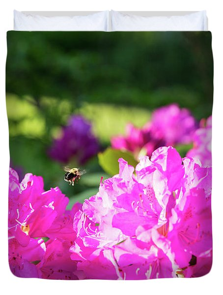 Bee Flying Over Catawba Rhododendron Duvet Cover