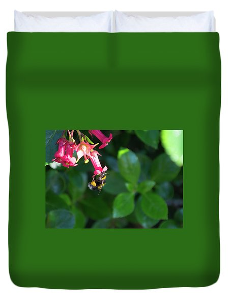 Duvet Cover featuring the photograph Bee Gathering Nectar by Scott Lyons