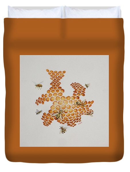 Duvet Cover featuring the painting Bee Hive # 1 by Katherine Young-Beck
