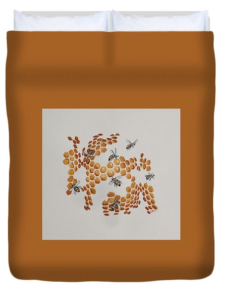 Duvet Cover featuring the painting Bee Hive # 2 by Katherine Young-Beck