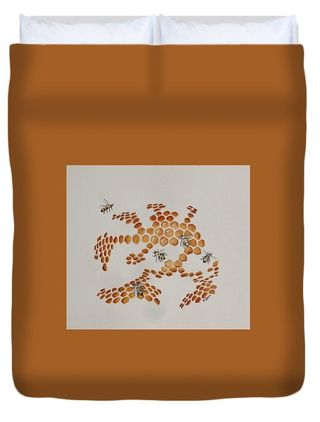 Duvet Cover featuring the painting Bee Hive # 4 by Katherine Young-Beck