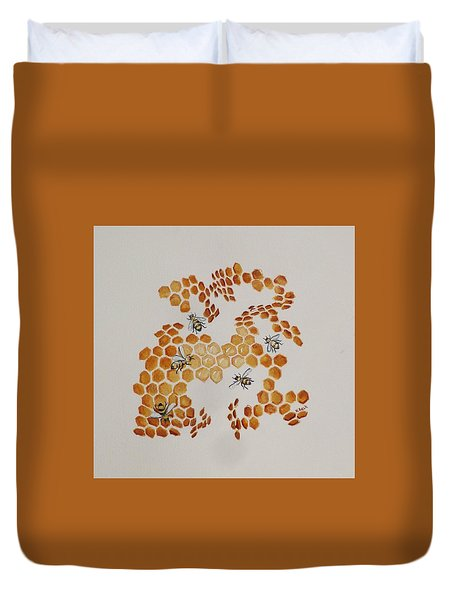 Duvet Cover featuring the painting Bee Hive # 5 by Katherine Young-Beck
