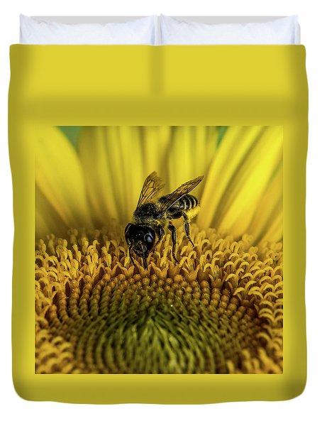 Duvet Cover featuring the photograph Bee In A Sunflower by Paul Freidlund