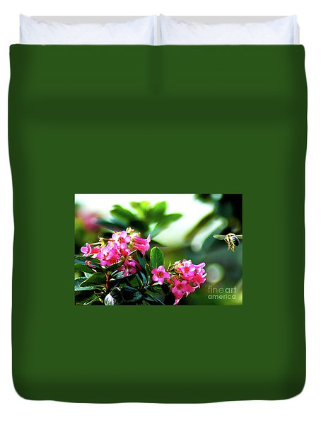Duvet Cover featuring the photograph Bee In Flight by Micah May