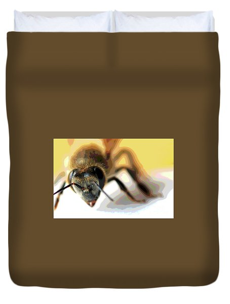 Duvet Cover featuring the photograph Bee In Macro 5 by Micah May