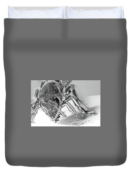 Duvet Cover featuring the photograph Bee In Macro Chrome by Micah May
