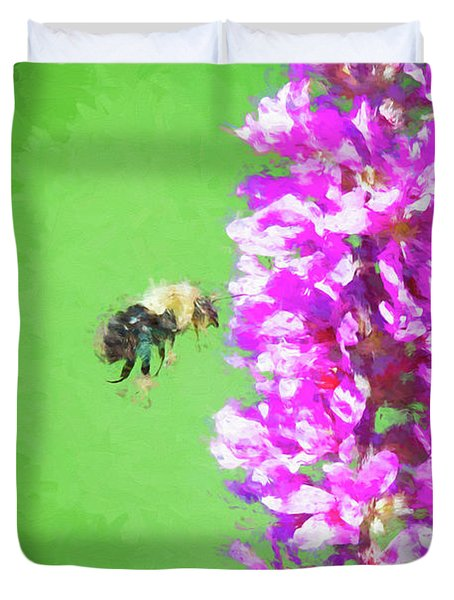 Bee Kissing A Flower Duvet Cover