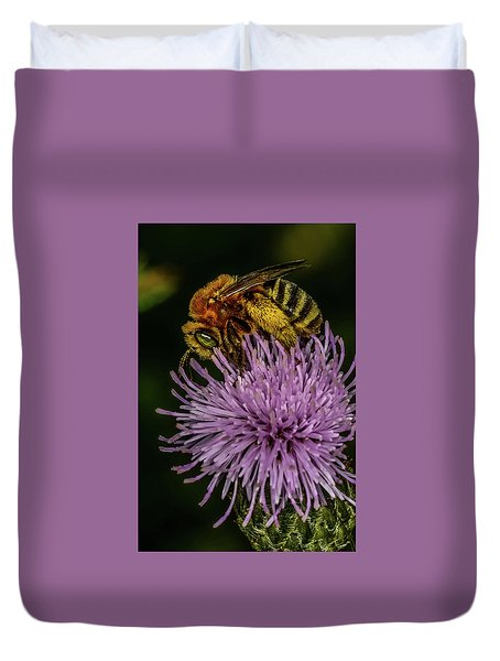 Duvet Cover featuring the photograph Bee On A Thistle by Paul Freidlund