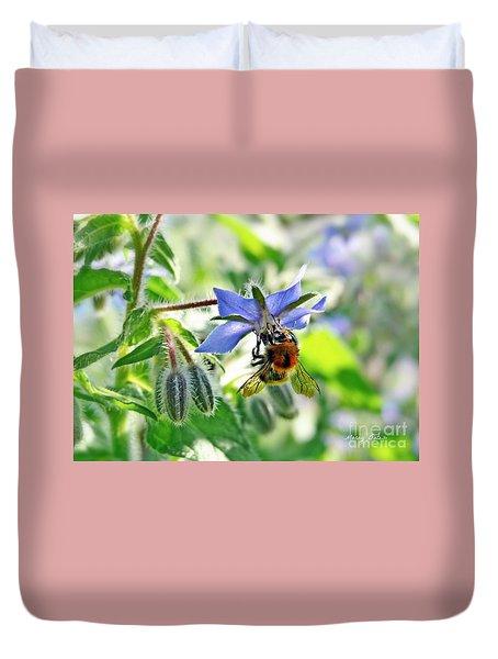Bee On Borage Duvet Cover