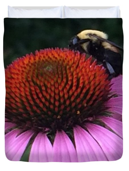 Bee On Flower By Saribelle Rodriguez Duvet Cover by Saribelle Rodriguez