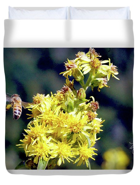 Duvet Cover featuring the photograph Bee On Goldenrod by Meta Gatschenberger