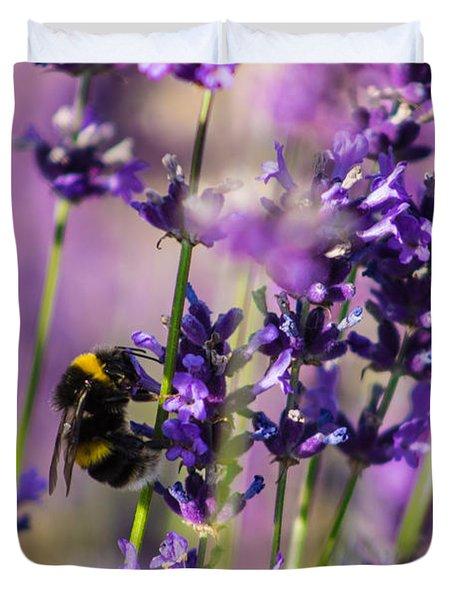 Bee On Lavender Duvet Cover
