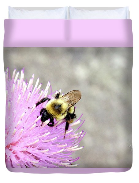 Duvet Cover featuring the photograph Bee On Pink Bull Thistle by Meta Gatschenberger