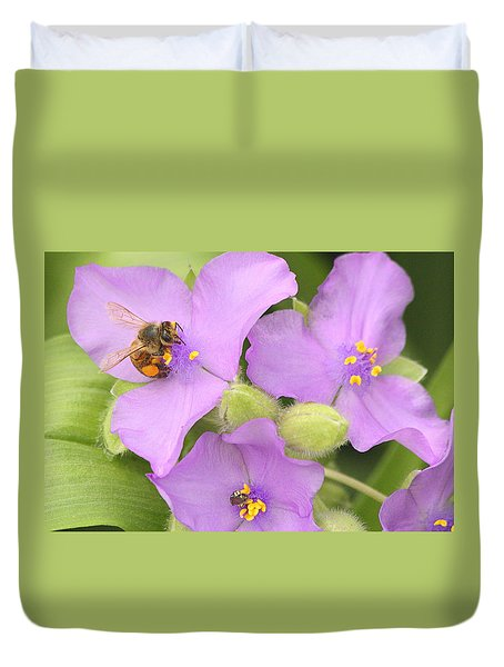 Duvet Cover featuring the photograph Bee On Purple Spiderwort by Sheila Brown